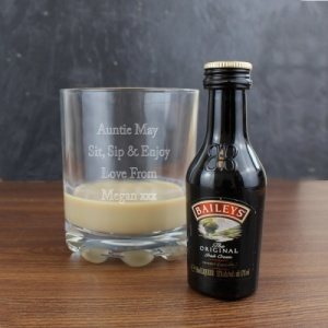 Personalised Whiskey Glass & Baileys Miniature Set