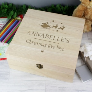Personalised Large Wooden Xmas Eve Treat Box
