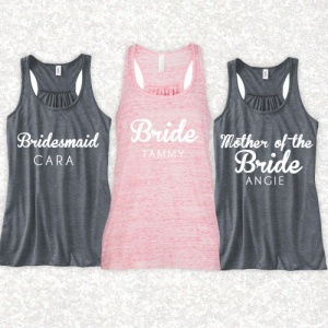 Personalised Slouch Wedding Tank Tops