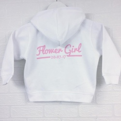 Children's white zip up hoodie printed with any role and personalisation details.
