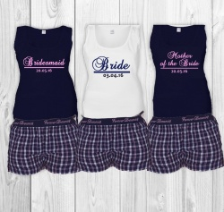 Navy Jaquard Bridal Party Short Check PJ's