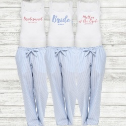 Blue Stripe Bridal Party Long Check PJ's