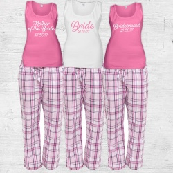 Bella Check Bridal Party Check Long Pj's