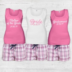 Bella Check Bridal Party Check Short Pj's