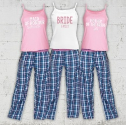 Ida Blue Check Bridal Party Check Long Pj's