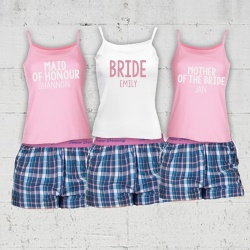 Ida Blue Check Bridal Party Check Short Pj's