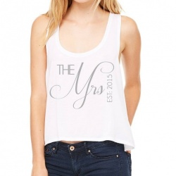 'The Mrs' Cropped Slouch Wedding Tank