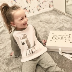 Personalised White & Silver Christmas Eve Box and PJ Set