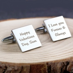 3 Lines message, Silver Plated Cufflinks