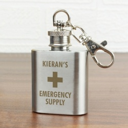 Personalised Emergency Supply 1oz Stainless Steel Hip Flask Keyring