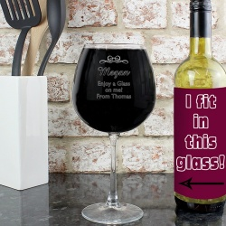 EXTRA LARGE Personalised Decorative Bottle of Wine Glass