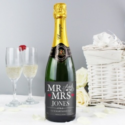 Personalised Mrs & Mrs Champagne and Bottle Bag