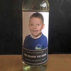 ''My child might be the reason you drink'' Personalised Photo Wine Labels (4PK)