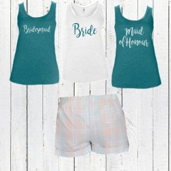 Aqua Teal Bridal Party Short Check PJ's