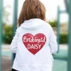 White zip up hoodie printed with a glitter heart and personalisation details.