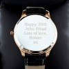 Mens Engraved Black / Rose Gold Tone Watch with Presentation Box