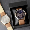Mens Tan Engraved Watch with Presentation Box
