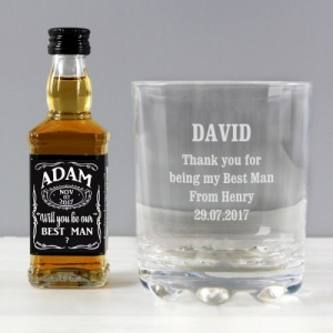 Personalised Jack Daniels Bottle & Whiskey Glass Set