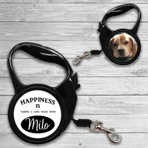 Personalised Black Dog Lead - 2 Sizes