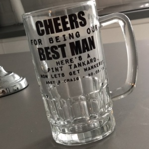 'Lets get w*nkered' Personalised, Printed Pint Tankard