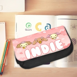 Black Canvas Pencil Case with printed Animals and personalised denim panel.