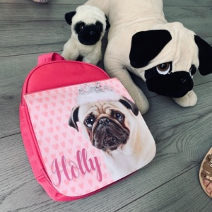 Personalised  Pink Pug Lunch Box