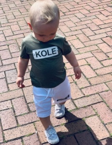 Personalised Khaki & White Short & T Set