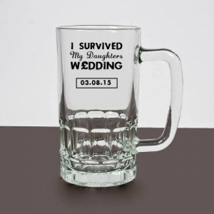 Novelty 'I Survived' My Daughters Wedding Glass