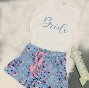FIVER FRIDAY (UK12) Blue Floral  Bridal Party Short Pj's