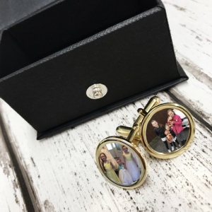 Gold 2 Image personalised photo cufflinks
