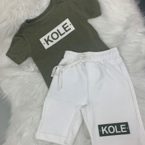 Personalised White & Khaki Short Set