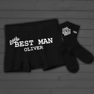 Childrens Personalised 'Little Best Man' Boxer Shorts and Socks Set