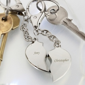 Personalised Two Hearts Keyrings Set