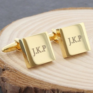 Personalised Gold Plated Square Cufflinks