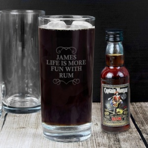 Personalised Highball Glass & Rum Set