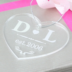 Newlywed Acylic Heart Decoration / Gift Tag
