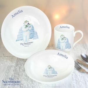 Personalised Snowman & Snowdog Breakfast Set