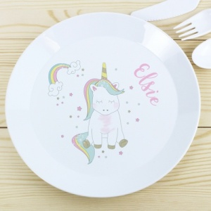 Personalised Baby Unicorn Plastic Plate