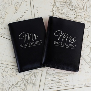 Personalised Black Mr & Mrs Passport Set