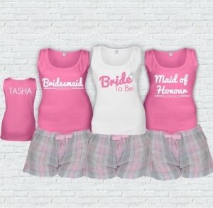 Grey & Pink Bridal Party Short Check PJ's
