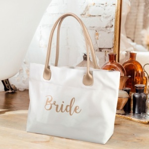 Bridal Party Cream Gold Canvas Tote Bag