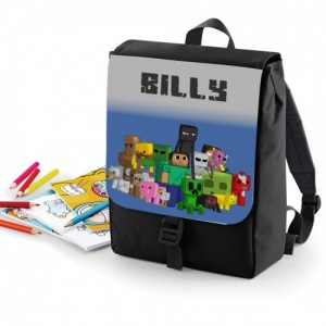 Black CHARACTER Minecraft Personalised Rucksack