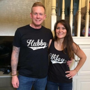 Hubby / Wifey Black Vest and T-Shirt Set