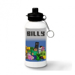 Blue Minecraft Personalised Water Bottle
