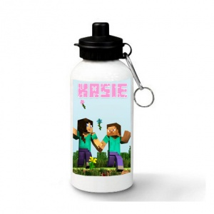 Pink Minecraft Personalised Water Bottle