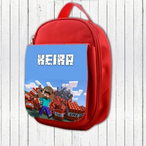 Red Personalised Minecraft Lunch Bag