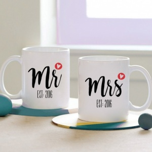 Mr & Mrs Heart Personalised Mugs