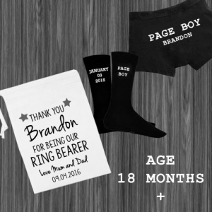 White Page Boy / Ring Bearer Personalised Gift Set