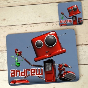 Robot Placemat and Coaster Set