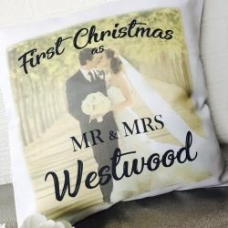 First Christmas as... Personalised Photo Cushion